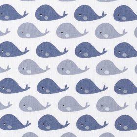 Baleines bleues fond blanc (coton)