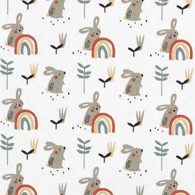 Lapins et arcs en ciel fond blanc (coton)