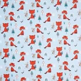 Lapins et renards fond bleu (coton)