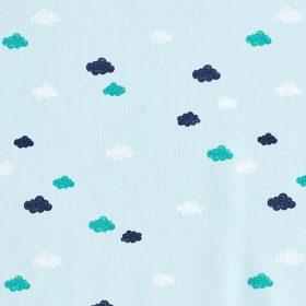 Nuages fond bleu (coton GOTS)