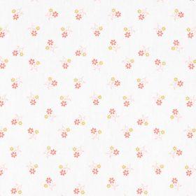Petites fleurs roses et jaunes fond blanc (coton)