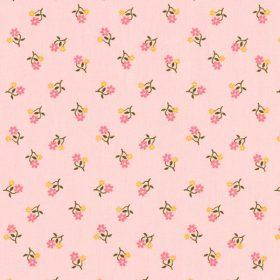 Petites fleurs roses et jaunes fond rose (coton)