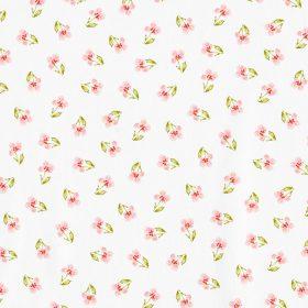 Fleurs pensées fond blanc (coton GOTS)