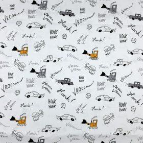 Voitures fond blanc (coton)