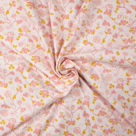 Fleurs et oiseaux rose et jaune fond blanc (coton bio)